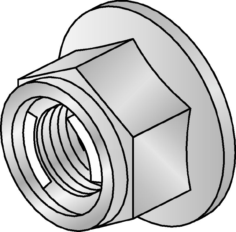 M10-SL Galvanized prevailing torque hexagon nut with self-locking mechanism for use indoors